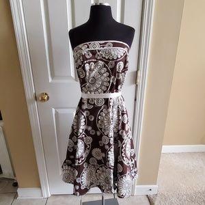 Brown & white strapless dress size 11